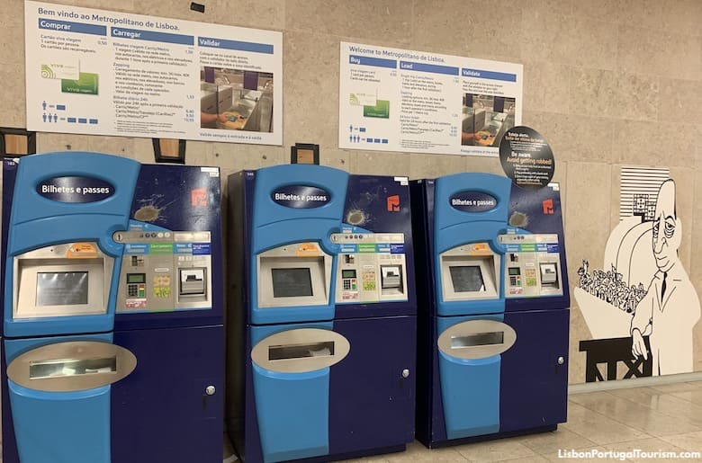 Lisbon Airport metro ticket machines