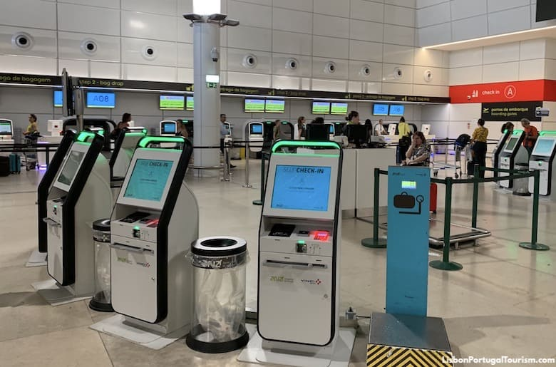 Self-check-in machines at Lisbon Airport