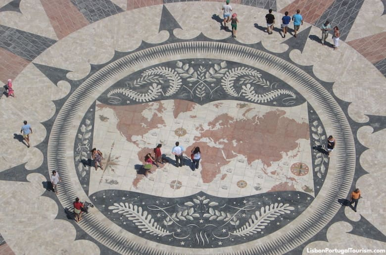 Map of the world on the pavement by the Discoveries Monument, Lisbon